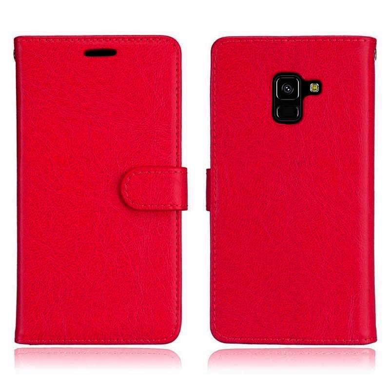 mobiletech-samsung-a8-2018-pu-leather-wallet-case-red